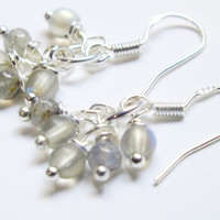 Labradorite and Gray Czech Cluster Earrings, Bohemian Earring Dangles, Labradorite Earrings, Sterling Silver Earrings