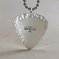 Big tree sterling silver guitar pick pendant with hammered edges