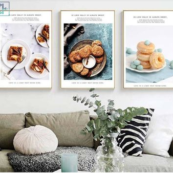 SPLSPL Nordic Style Restaurant Decoration Posters and Prints Food Baking Modular Picture Wall Art Canvas Paintings for Kitchen