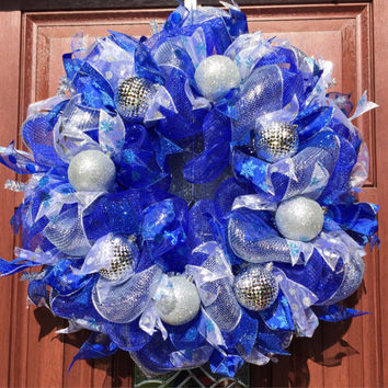 Royal Blue Deco Mesh Christmas Wreath, Blue Silver Winter Wreath, Holiday decor xmas wreath, xmas decor