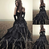 Black Boho Wedding Dresses Vintage Gothic Halloween Costumes Wedding Ball Gowns