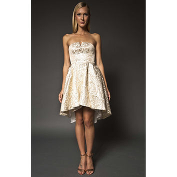 NARCES Lizzie Gold and Off-White Strapless Occasion Dress