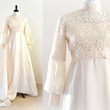 1960s Wedding Gown Empire or Renaissance Style Boho