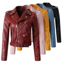 Women Wine Red Faux Leather Jackets, Lady Bomber Motorcycle.