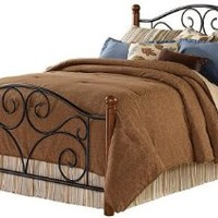 Fashion Bed Group B91275 Doral Complete Bed with Metal Duo Panels and Dark Walnut Wood Posts, Matte Black Finish, Queen