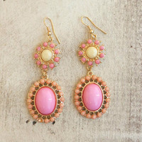 Posited in Pink Earrings [4580] - $12.00 : Vintage Inspired Clothing & Affordable Dresses, deloom | Modern. Vintage. Crafted.