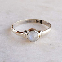Tiny Sterling Silver Blue Fire Rainbow Moonstone Ring, Silver Stone Rings Gift For Her Band Women, Size US 2 3 4 5 6 7 8 9