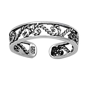 Sterling Silver Half Infinity Symbol Filigree 4MM Toe Ring/ Knuckle/ Mid-Finger
