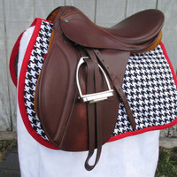 English All-Purpose Saddle Pad:  Black and White Houndstooth with Red Trim