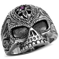 Men's Amethyst Crystal Skull Silver Stainless Steel Ring