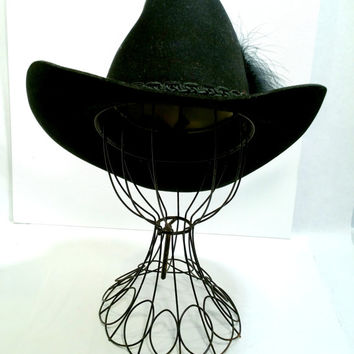 Black Cowboy Hat Size 7 Felt Resistol Tall Crown Excellent Vintage Cowboy Hat Unisex Cowboy Hat Square Dance Western Wedding Cowboy Hat