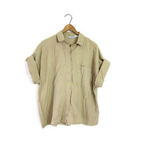 Vintage khaki tee shirt. Preppy beige button up tshirt. 80s loose fit oversized top. Pocket tshirt. Basic Simple Cotton Top. Large