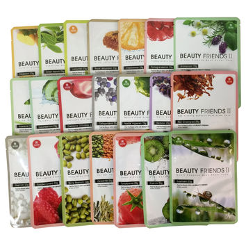 Beauty Frinds II Facial Essence Mask Sheet Pack 21 Types Full Set Paraben-Free (Each 1 Pcs)