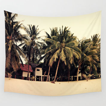Bungalow Huts - Wall Tapestry, Beach Island Tropical Surf Hanging, Sand & Green Coconut Palm Trees Boho Chic Home Decor. Small Medium Large