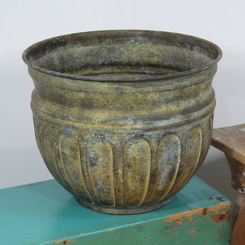 "Large Brass 10"" Planter . Patinated Oxidized Finish . Vintage Plant Pot"