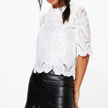 Evie Crochet Lace Shell Top | Boohoo