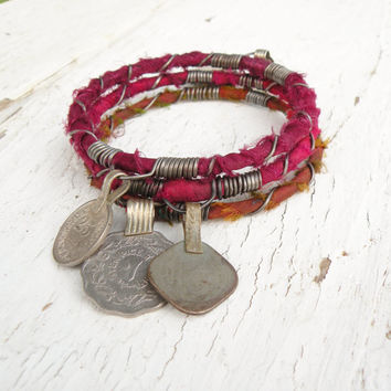 Silk Road Bangle Stack, 3 Piece Set, Tribal Gypsy Coins and Sari Silk, Blood Orange, Fuschia, Burgundy