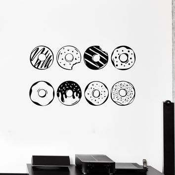 Vinyl Wall Decal Donuts Fast Food Cafe Bakery Art Stickers Mural Unique Gift (ig5197)