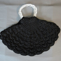 1940s Black Crochet Cord Purse with Lucite Handles, Large Fan Shaped Vintage Rayon Handbag
