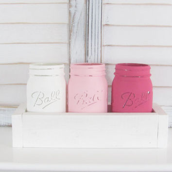 Ombre, Wedding Decor, Mason Jars, Rustic Decor, Shabby Chic, Distressed, Party Decor, Set of 3 Jars, Party Centerpiece, Country, Baby Shower