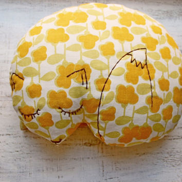 Stuffed fox pillow nursery decor 10x12 inches rustic primitive animal stuffed toy baby shower gift white green yellow orange tangerine