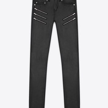 ORIGINAL LOW WAISTED Zip SKINNY JEAN IN Black Faux Leather