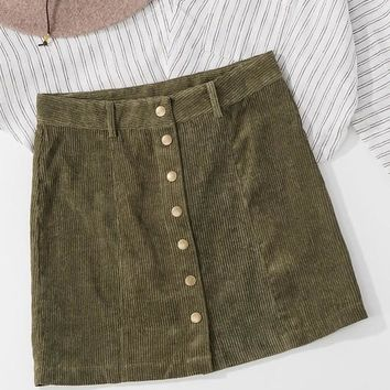 Olive Button Down Corduroy Skirt