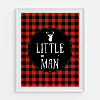 Little Man Art Print, Rustic Nursery Decor, Deer Art, Red Plaid Decor, Lumberjack Art, Cabin Wall Art, Tartan, Buffalo Plaid, Nursery Art