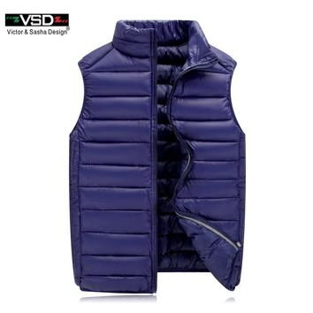 New Winter Cotton-Padded Men's Jacket Sleeveless Vest Fashion Casual Coats Waistcoat Male Solid Zipper Vest Thickening