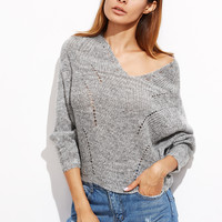 Grey V Neck Batwing Sleeve Sweater