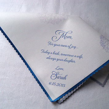 Mother of the bride wedding handkerchief, wedding favor, hydrangea flowers, personalized wedding gift, mom wedding memento, something blue