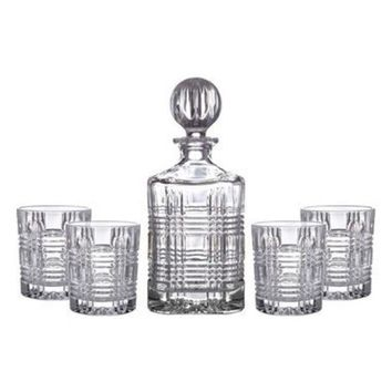 DCCK8BW PORTLAND 5-PIECE DECANTER & WHISKEY GLASSES SET