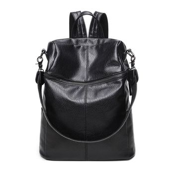 2017 Korean fashion Women Soft Leather Back bag retro large capacity multi-Faction Shoulder Bag school bag Rucksack
