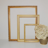 Home Decor Supplies Set of 3 Gold Picture Frames Wall Hangings Gold Picture Frames for DIY Home Decor Projects or Wedding Decor