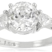 "Platinum Plated Sterling Silver ""100 Facets Collection"" Cubic Zirconia Three-Stone Ring (3 cttw), Size 8"