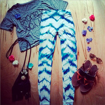 Tie Dye Leggings Shibori Chevron womens printed leggings pants yoga clothing