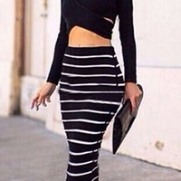 Black White Striped Two Piece Long Sleeve Crop Cut Out Top Maxi Skirt Bodycon Dress