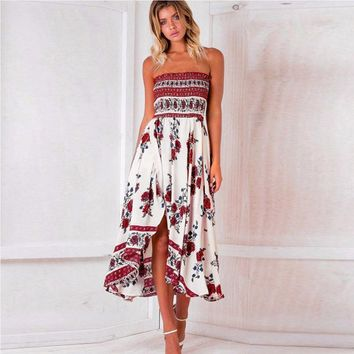 New Arrival Bohemian Fit And Flare Print Sleeveless None Mid-calf Strapless Empire Strapless Summer Dresses