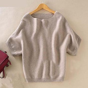 Sweater Women A word neck Pullovers Short Batwing Sleeve Jumpers for lady Loose style Slash neck Jackets Hot Sale girls Clothing