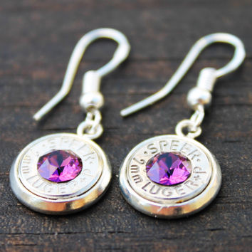 Amethyst Crystal 9mm Bullet Dangle Earrings