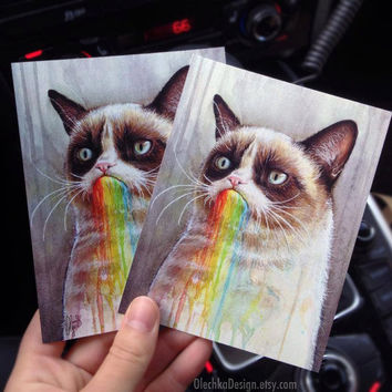 Grumpy Cat Tastes the Rainbow Post Card, Blank, Funny Card
