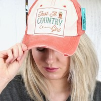 Just A Country Girl Cap {Orange + Cream}