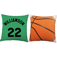 Set of 2 Personalized Basketball Pillows - Basketball Throw Pillow Covers and or Cushion Inserts - Sports Pillows, Custom Sports Room Decor