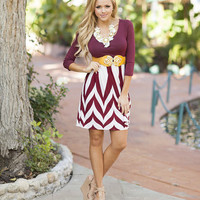 Burgandy Designed 3/4 Sleeve Dress