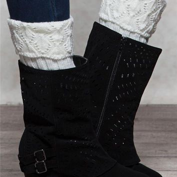 Pointelle Rib Stitch Boot Cuffs