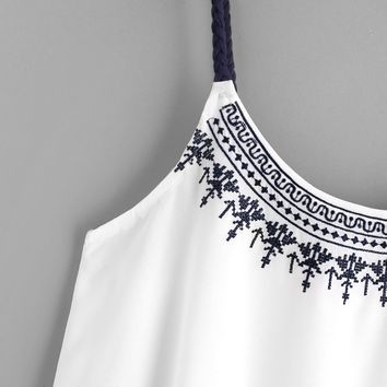 New Women Camis Embroidered White Vest Shirt for summer
