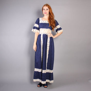 60s MEXICAN Crochet MAXI / Ethnic Navy Blue Cotton DRESS, xs-s