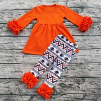 Personalized New Arrival Children Orange Harvest Boutique Thanksgiving Outfits Turkey Holiday Ruffle Baby Clothing Set