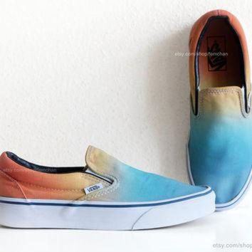 VLXZRBC Vintage Vans slip-on skate shoes, upcycled with a sky blue to sunny orange ombre dip d