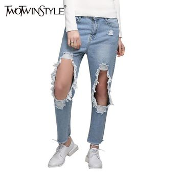 [TWOTWINSTYLE] 2017 Summer Ripped Hole Jeans Trouser Women Boyfriend Denim Pants Korean Jean Casual Clothing Large Size Female